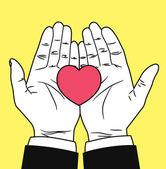Vintage hand giving heart symbol — Stockvector
