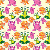 Cartoon monster seamless pattern — Stock Vector