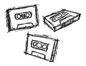 Набор схематично Винтаж кассеты — Cтоковый вектор