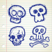 Set of sketchy skull icon — Stock Vector