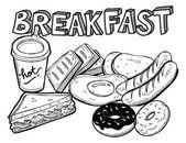 Various breakfast doodle — Stock Vector