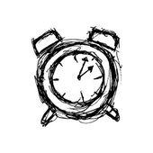 Sketchy clock in doodle style — Vector de stock