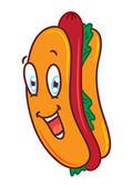 Cartoon hotdog with happy expression — Stock Vector