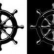 Ship steering wheel isolated on white and black background — 图库矢量图片