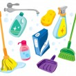 Cleaning kit icons — Stock Vector