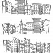 City skylines in doodle style — Stock vektor