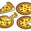 Set of pizza doodle — Stock Vector