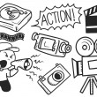 Stock Vector: Film industry doodle