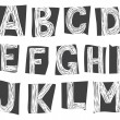 Stock Vector: Sketchy alphabet