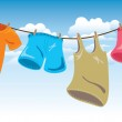Hanging clothes on washing line — Vector de stock  #38227727