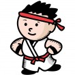 Stock Vector: Karate kid cartoon