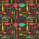 Kitchen utensils seamless pattern — Stock Vector