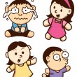 Set of cute children expressions cartoon — Stock Vector #38229675