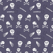 Skeleton doodle seamless pattern — Stock Vector
