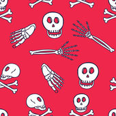 Skeleton doodle seamless pattern — Stock Vector