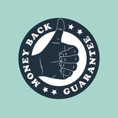 Vintage thumbs up label — Stock Vector