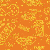 Snack doodle seamless pattern — Stock Vector