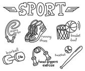 Sport equipment doodle isolated on white background — Stock Vector