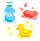 Set of bathing stuff — Stock Vector