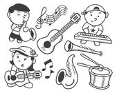 Children playing music — Stock Vector