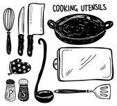 Kitchen utensil doodle — Stock Vector