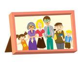 Cornice d'epoca con foto di famiglia — Vettoriale Stock