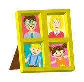 家族の写真とビンテージ フレーム — ストックベクタ