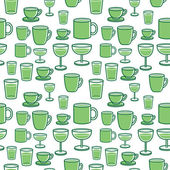 Cup and wine glass seamless pattern — Stock Vector