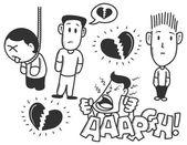 Broken heart doodle — Stock Vector