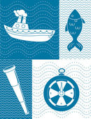 Nautical theme illustration — Stock Vector