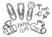 Set of pins and paper clips doodle — Vector de stock