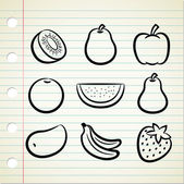 Set of fruit icon in doodle style — Vecteur