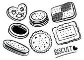 Set of biscuit doodle — Stock Vector