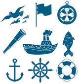Set di icone in nautica — Vettoriale Stock