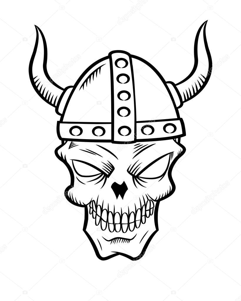 Cr ne de viking de dessin anim image vectorielle - Dessin de viking ...