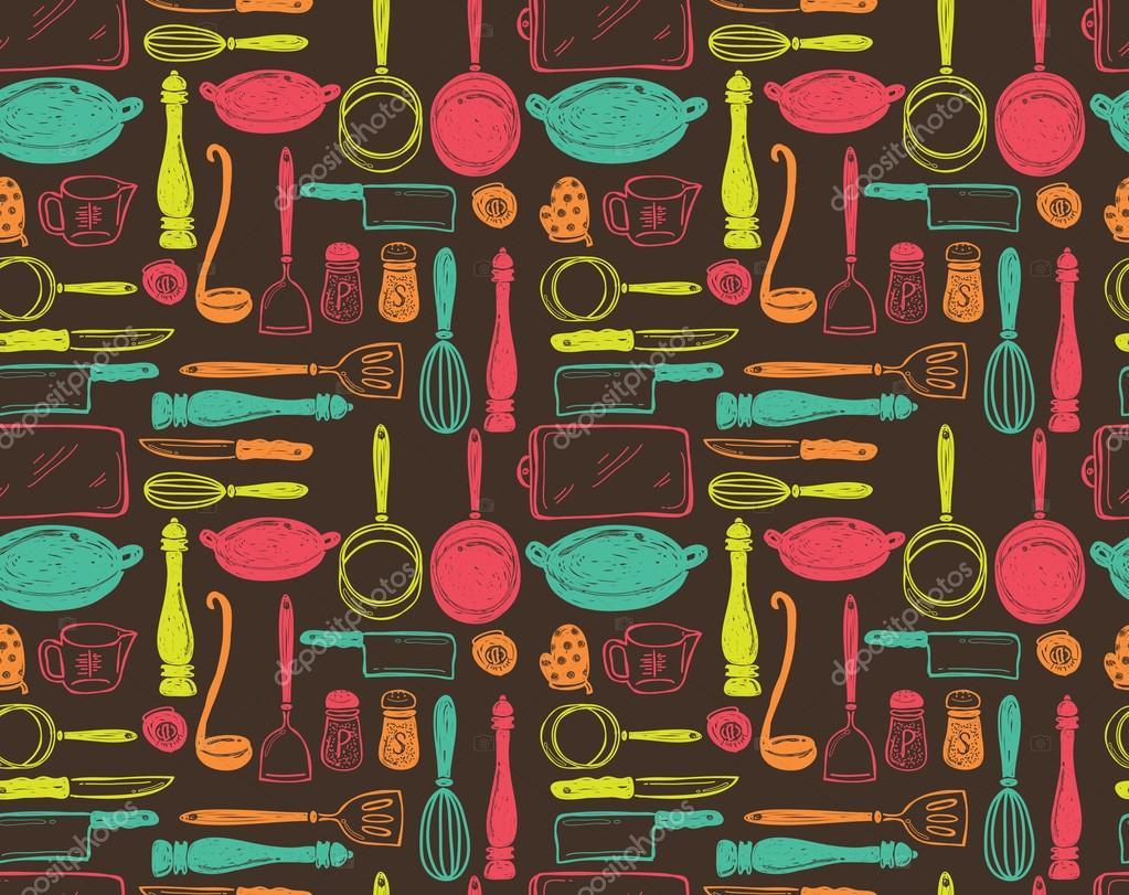 Patrones sin fisuras de utensilios de cocina vector de for Utensilios de cocina fondo