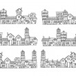City skylines in doodle style — Vetorial Stock