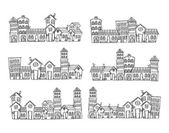 City skylines in doodle style — Stock Vector