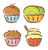 Cupcake and yogurt in doodle style — Stock Vector