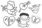 Set of valentine elements — Stock Vector