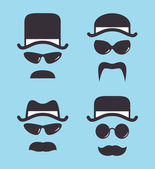 Set of vintage hat sunglasses and mustache — Stock Vector