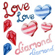 Love and diamond shape water color — Stock Photo #38685779