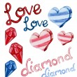 Love and diamond shape water color — Stock Photo
