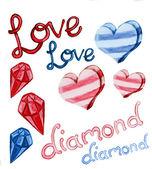 Love and diamond shape water color — Zdjęcie stockowe