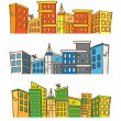City skylines in doodle style — Stockvector