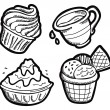 Set of dessert in doodle style — Stock Vector #38686033