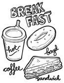 Breakfast food and drink doodle — Stock Vector