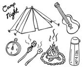 Camping doodle — Stockvector