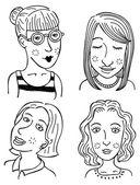 Set of cartoon face — Stock Vector