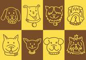 Cut dog faces — Stock Vector